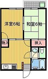 東京都昭島市松原町1丁目の賃貸アパートの間取り