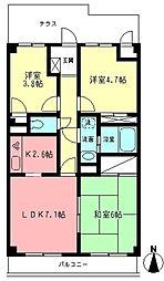 ペアムール三竹[1階]の間取り