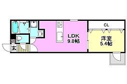 阪急京都本線 茨木市駅 徒歩9分の賃貸アパート 2階1LDKの間取り
