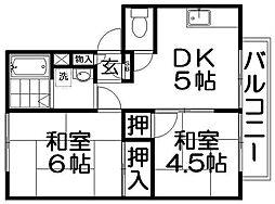 大阪府寝屋川市高柳5丁目の賃貸アパートの間取り