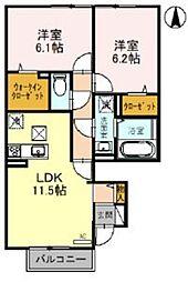 JR京浜東北・根岸線 北浦和駅 バス7分 東瀬ヶ崎下車 徒歩3分の賃貸アパート 1階2LDKの間取り