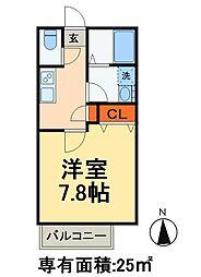 JR常磐線 北小金駅 徒歩10分の賃貸アパート 2階1Kの間取り