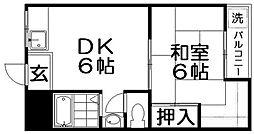 寝屋川コーポラスI[2階]の間取り