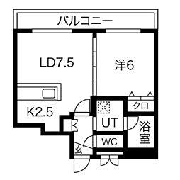 S-RESIDENCE桑園 2階1LDKの間取り