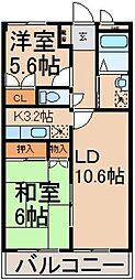 ヒルトップ D棟[3階]の間取り