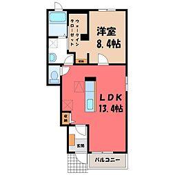 栃木県真岡市荒町の賃貸アパートの間取り