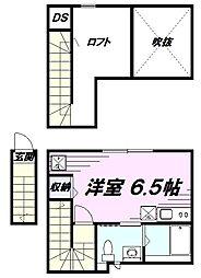 JR中央線 立川駅 徒歩16分の賃貸アパート 2階ワンルームの間取り