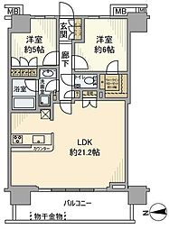 浅草タワー 34階2LDKの間取り