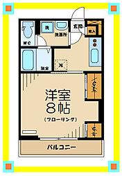 京王線 分倍河原駅 徒歩8分の賃貸マンション 3階1Kの間取り