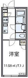 JR横浜線 八王子駅 徒歩14分の賃貸アパート 1階1Kの間取り