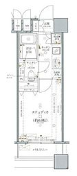 ファーストリアルタワー新宿(旧 アクス・ザ・タワー新宿) 13階1Kの間取り