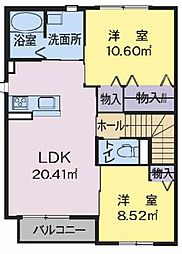 シャーメゾン真宮I 2階2LDKの間取り