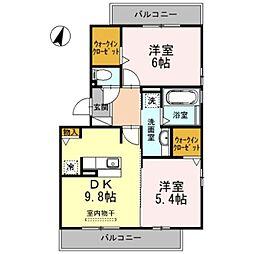 ソフィア A棟 3階2DKの間取り