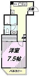 JR南武線 矢川駅 徒歩3分の賃貸マンション 5階1Kの間取り