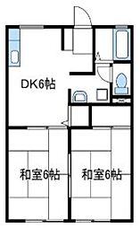 神奈川県伊勢原市岡崎の賃貸アパートの間取り
