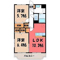 栃木県下野市川中子の賃貸マンションの間取り