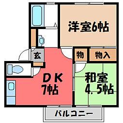 栃木県宇都宮市五代2丁目の賃貸アパートの間取り