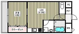 ラ・ポーエあき[4階]の間取り