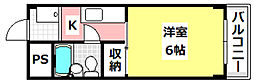 JR東海道・山陽本線 茨木駅 3.3kmの賃貸マンション 2階1Kの間取り