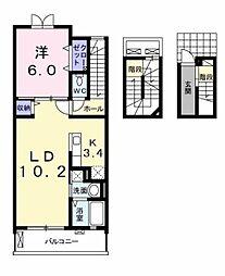 愛知県豊田市越戸町梅盛の賃貸アパートの間取り