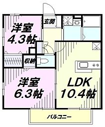 JR五日市線 秋川駅 徒歩3分の賃貸アパート 1階2LDKの間取り