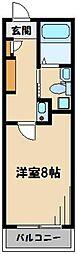 Villa Brise 3階1Kの間取り