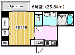 JR東海道・山陽本線 高槻駅 徒歩15分の賃貸マンション 4階1Kの間取り