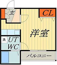 東武伊勢崎線 谷塚駅 徒歩9分の賃貸マンション 1階ワンルームの間取り