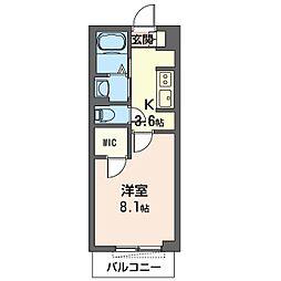 モリス・スクエア 1階1Kの間取り