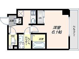 JR大阪環状線 寺田町駅 徒歩6分の賃貸マンション 9階1Kの間取り