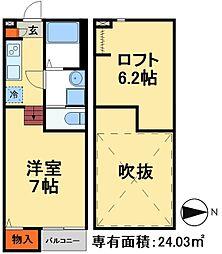 新京成電鉄 上本郷駅 徒歩6分の賃貸アパート 1階1Kの間取り