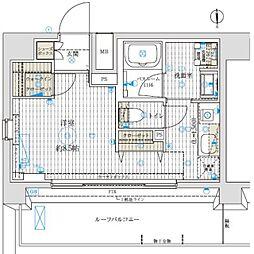 ベルグレードKAMEIDO 9階ワンルームの間取り