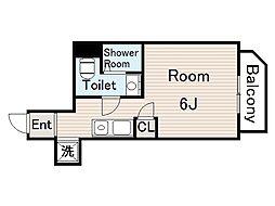 プランドール野江 4階ワンルームの間取り