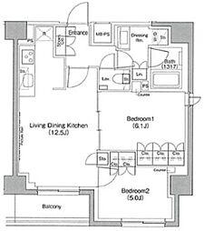 ザ・パークハビオ駒込 7階2LDKの間取り