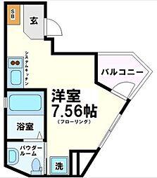 リベール武蔵野台 2階ワンルームの間取り