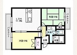 福岡県福岡市早良区有田7の賃貸マンションの間取り