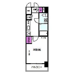 エスリード大阪城 3階1Kの間取り