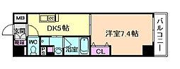 JR大阪環状線 福島駅 徒歩7分の賃貸マンション 5階1DKの間取り