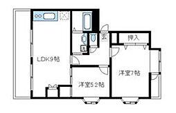 小田急小田原線 町田駅 バス10分 上横町下車 徒歩1分の賃貸マンション 1階2DKの間取り