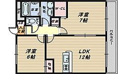 大阪府堺市中区深井畑山町の賃貸アパートの間取り