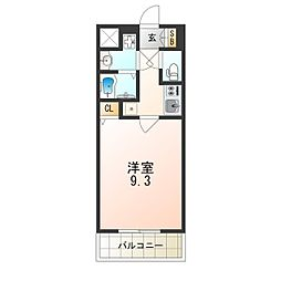 JR大阪環状線 西九条駅 徒歩4分の賃貸マンション 5階1Kの間取り