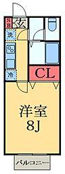 京成本線 京成大久保駅 徒歩22分の賃貸アパート 1階1Kの間取り
