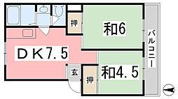 青山第二ハイツ[5階]の間取り