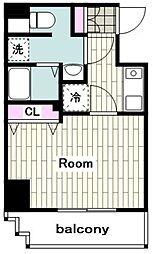 東急東横線 反町駅 徒歩1分の賃貸マンション 2階1Kの間取り