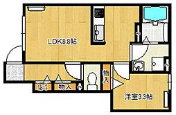 バローニA棟[1階]の間取り