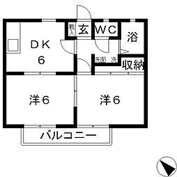 ラクシュリーマンションA[201号室]の間取り