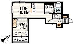 西武新宿線 都立家政駅 徒歩5分の賃貸マンション 2階1LDKの間取り