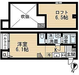 ホワイトハウス末広[1階]の間取り