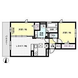 グラースT[2階]の間取り