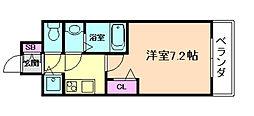 メインステージ大阪福島 7階1Kの間取り